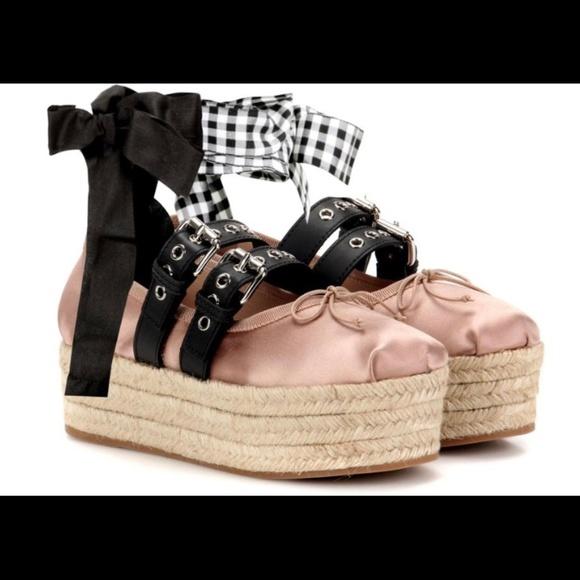 3636e2e5187 Miu Miu Ankle-Wrap Platform Espadrille SHOES 36.5.  M 5b6b4cc49fe4864a14e7a2f9